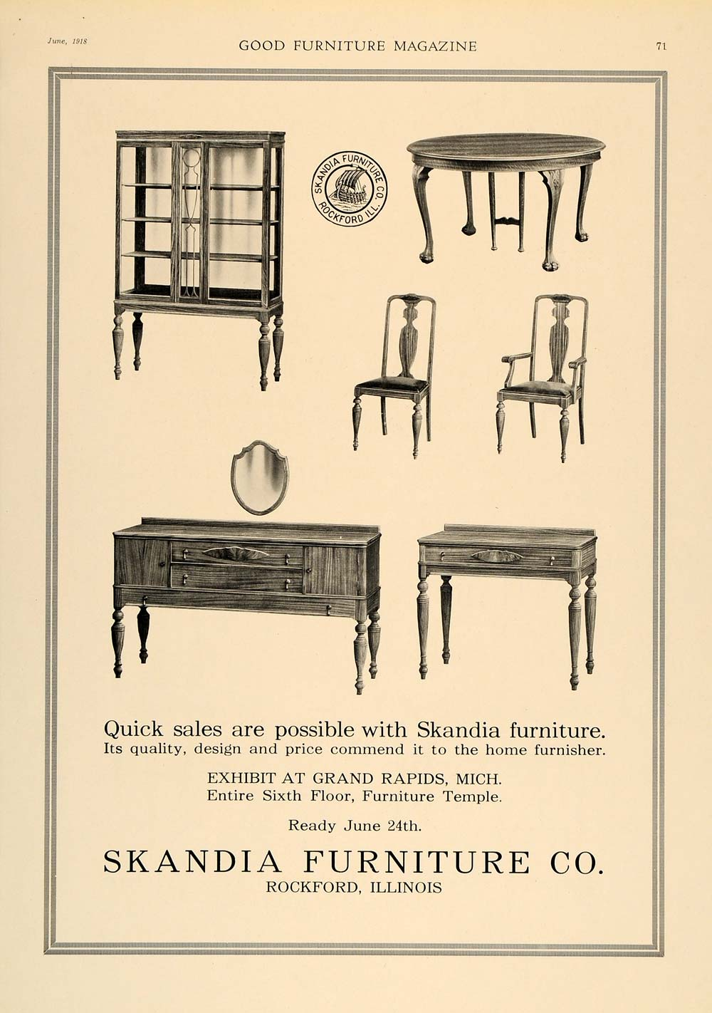1918 Ad Skandia Furniture Rockford Sideboard Buffet