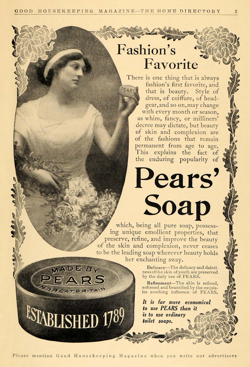 1911 Ad Pears Toilet Bath Soap Vintage Woman Fashion ...