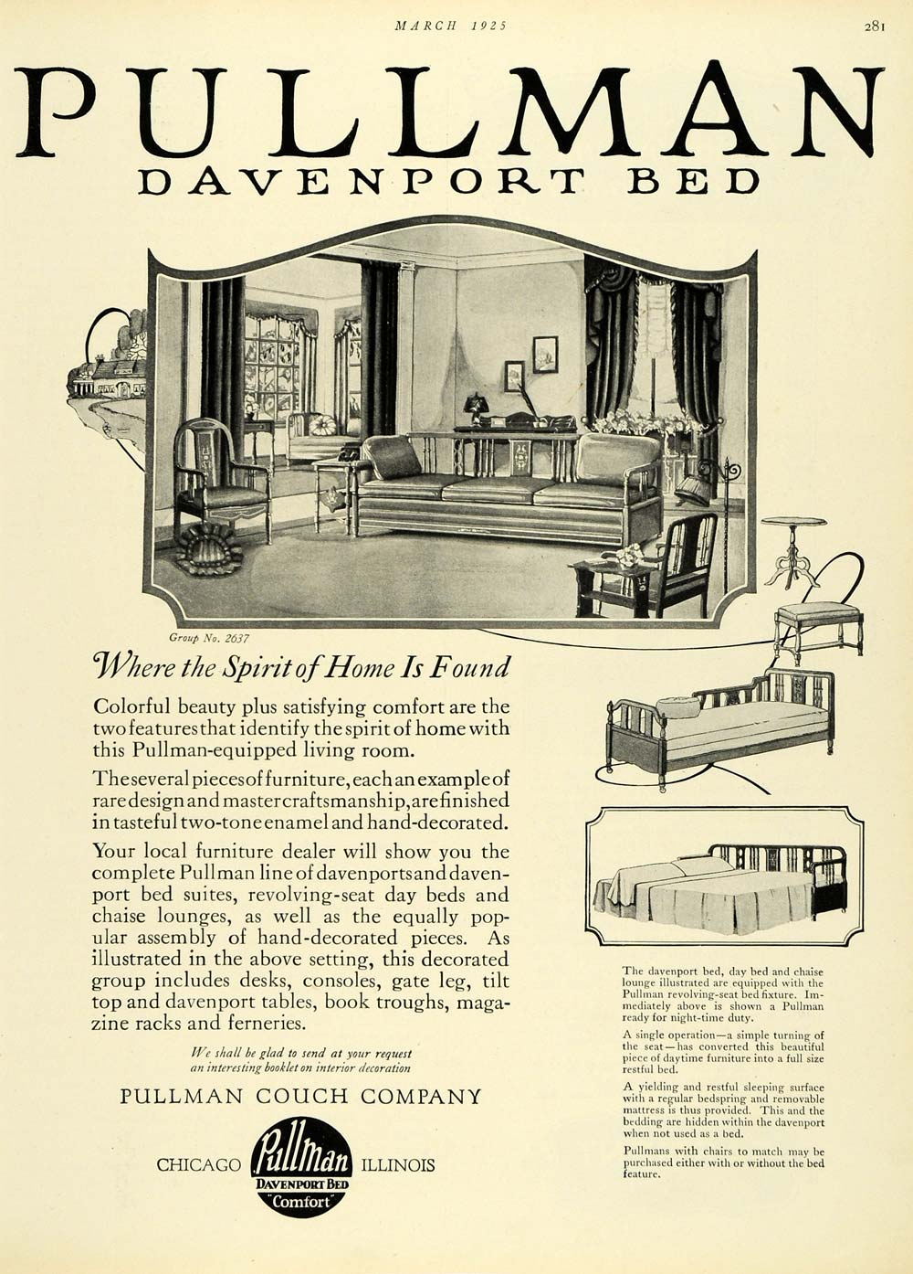 1925 Ad Sleeper Sofa Pullman Couch Co Davenport Bed Living