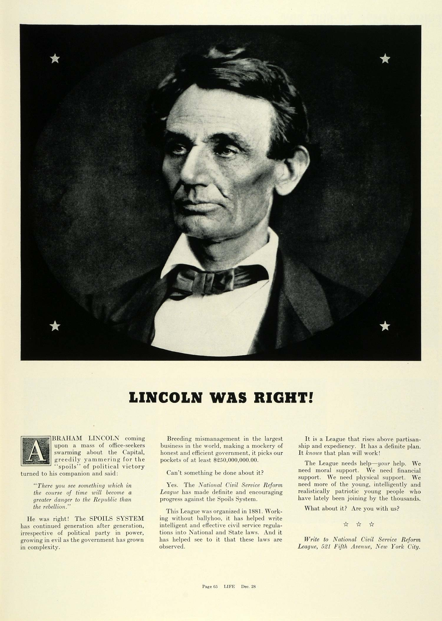 1936 Ad Abraham Lincoln Political Spoils System National ...