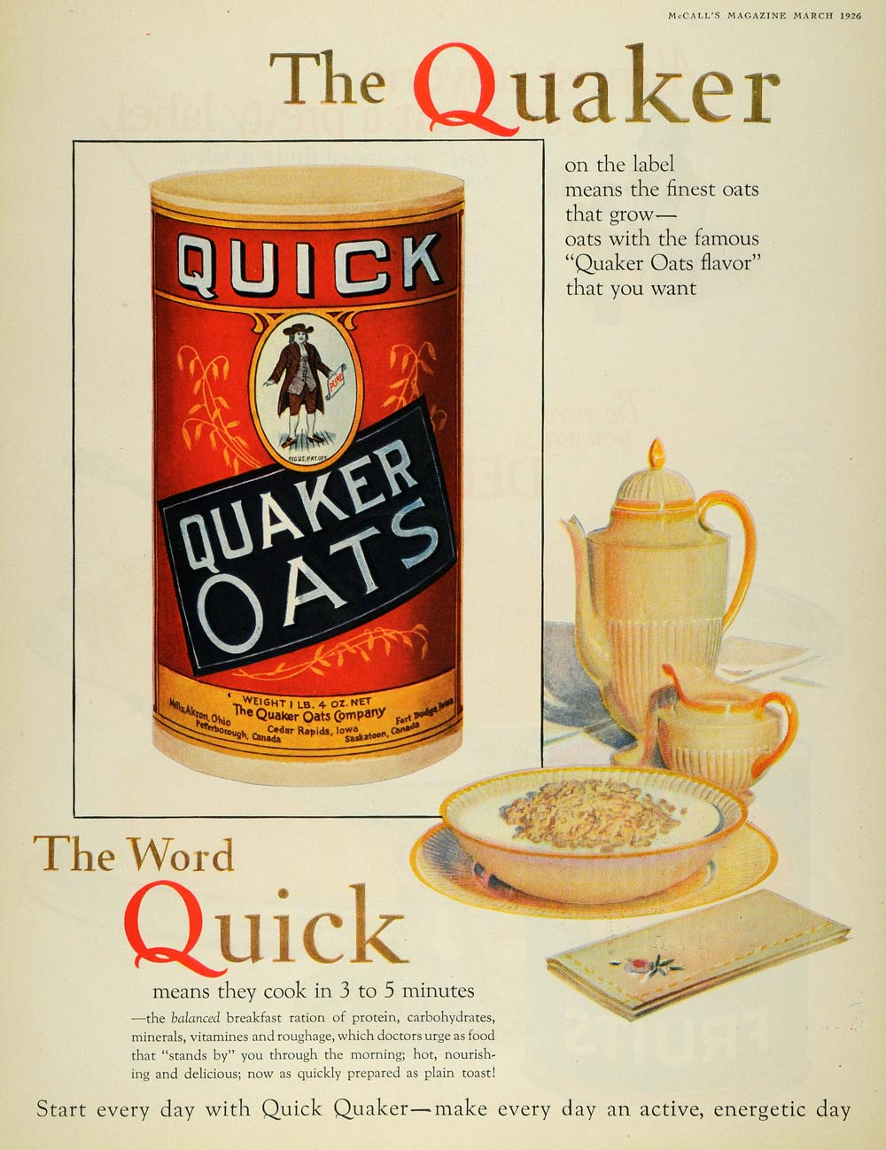 Quick Ads For Beauty Product Blusher Oneminutebriefs: 1926 Ad Quick Quaker Oats Man Breakfast Oatmeal Cereal