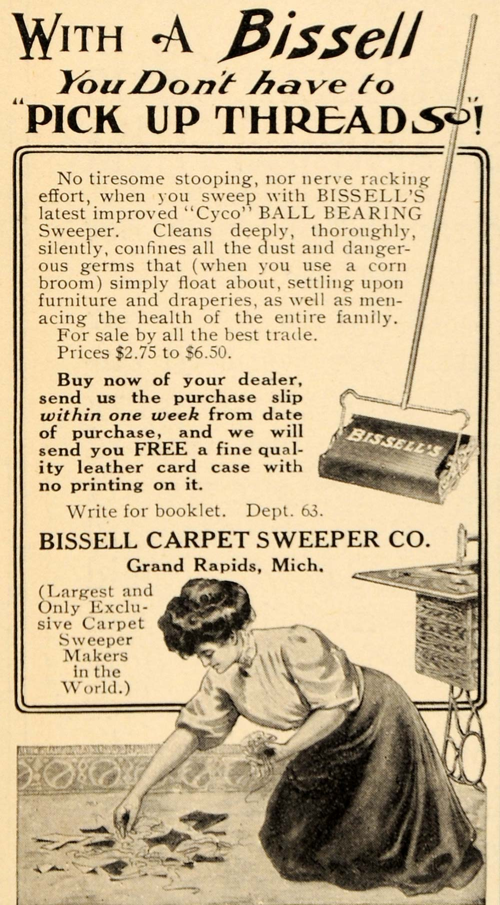 1909 Ad Cyco Ball Bissell Carpet Sweeper Antique Vacuum Ebay