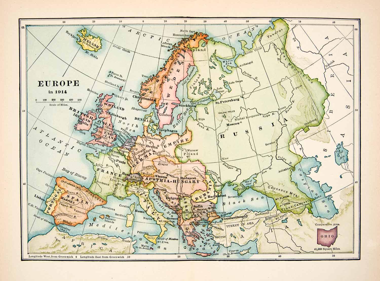1930 Print Map Europe Russia Rumania Austria Hungary ...