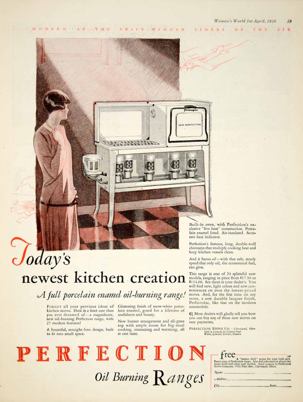 1928 Ad Perfection Oil Burning Stove Oven Kitchen